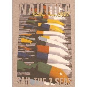 Nautica T-Shirt Gray Pocket Sailing NWT $25.00